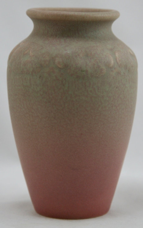 """Rookwood Production 5"""" Vase 1921 With Blossom Motif Green Over Rose Glazes Mint"""