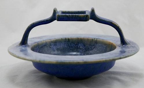 """Fulper 4.25"""" x 8"""" Vaz Bowl In Frosted Blue/White Glazes c1909-1917 Mint"""