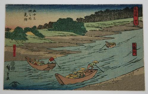 Utagawa Hiroshige (1797-1858) Mitsuke: Ferry Boats and the Tenryû River, #28
