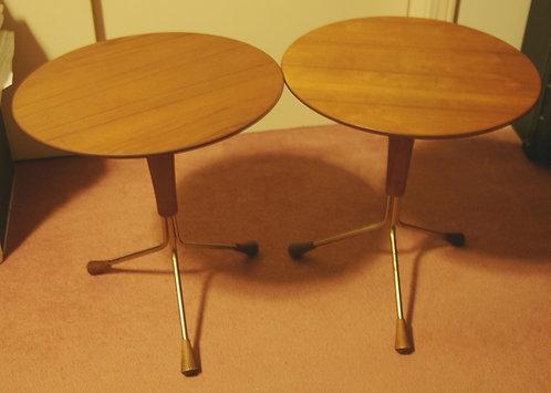 Albert Larsson for Alberts Tibro Sweden Pair of Teak & Brass Tripod Tables c1960