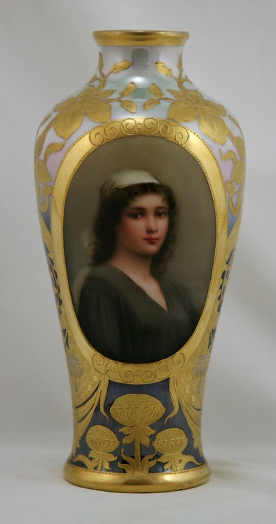 "Royal Vienna Porcelain 9"" Vase 'Ruth' By Wagner Polychome & Gilt Decoration"