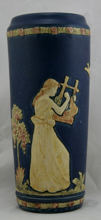 "Weller Blue Ware 11"" Vase W/A Lady Playing A Lyre & One Dancing Factory Mint"