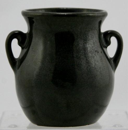 "Fulper 3.5"" x 3.25"" Cabinet Vase c1929-1934 In Rich Black Glaze Mint F54"
