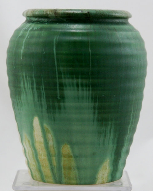Candy Ware England Ribbed Vase in Green over Yellow Drip Glazes Mint E494