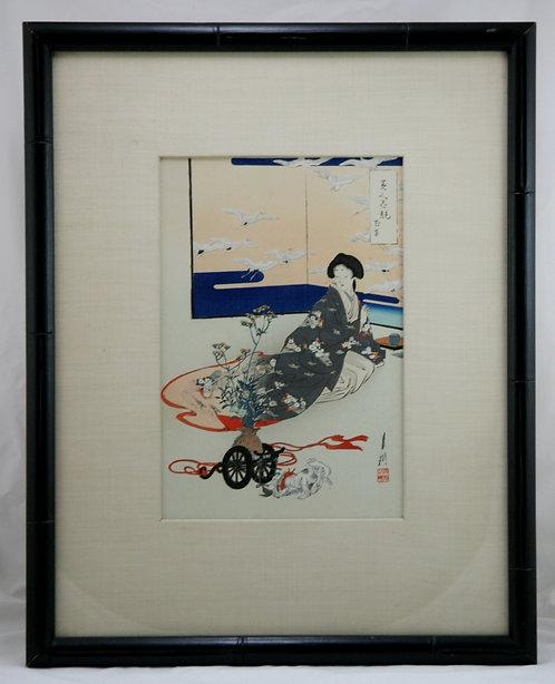 Ogata Gekko (1859-1920) 'Flowercart' Series: Comparisons of Beauties and Flowers