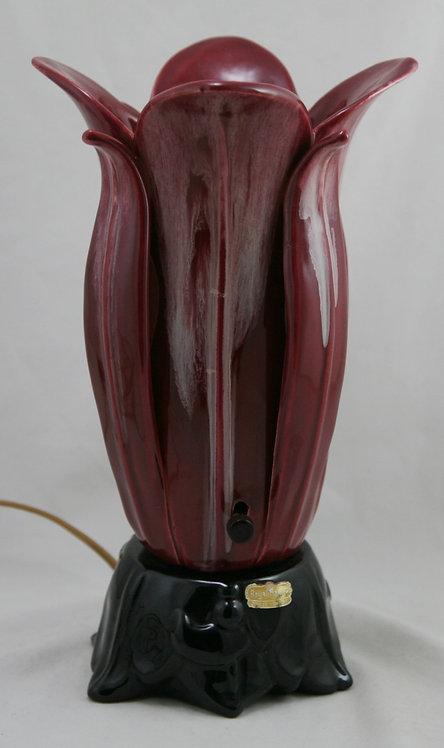 $OLD! Royal Haeger Mid-Century Modern Petal Lourve Lamp in Oxblood/Honey Glazes