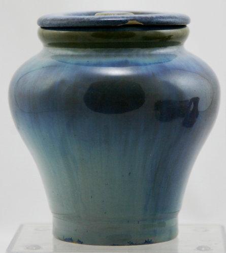 "Fulper RAFCO 4.5"" Lidded Jar In Blue Crystalline Flambe Glaze F279"
