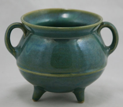 W.J. Gordy Pottery Footed Vessel with Handles in Green Glazes