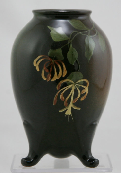 "Owens 'Lightweight' 6.25"" Footed Vase By Harry Robinson Whispy Blossoms/Leaves"