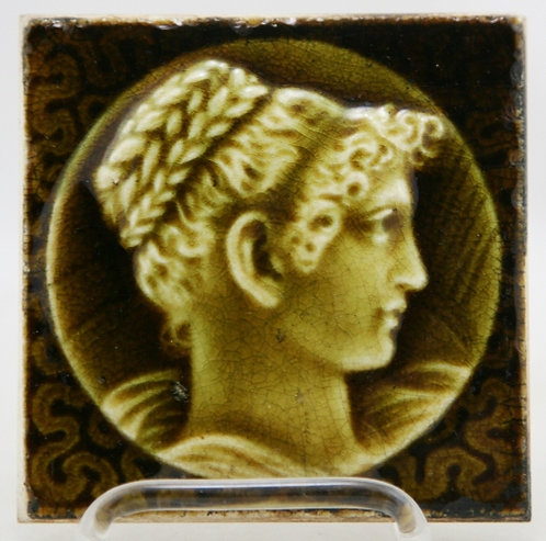 "Providential Tile Works 4.25"" Tile 'Portrait Of A Lady' Trenton, NJ Green Glaze"