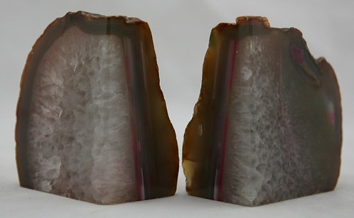 Natural Geode Agate Crystallized Stone Bookends c1980