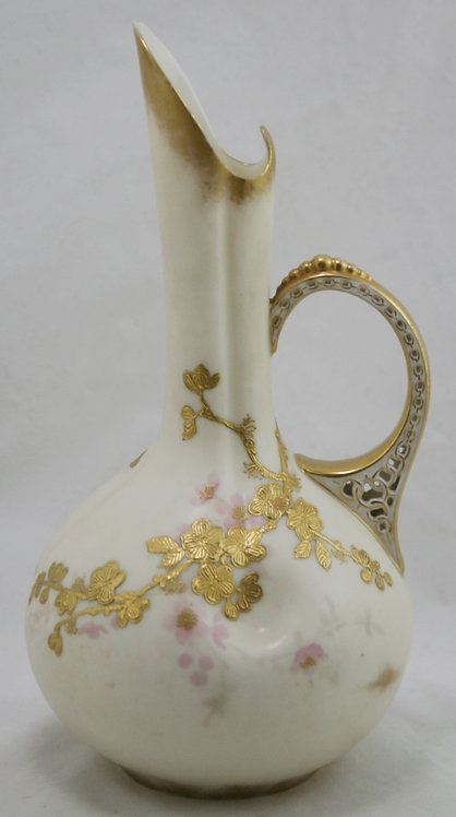"Royal Worcester Blush Ivory 10.5"" Pitcher with Ornate Reticulated Handle Floral"