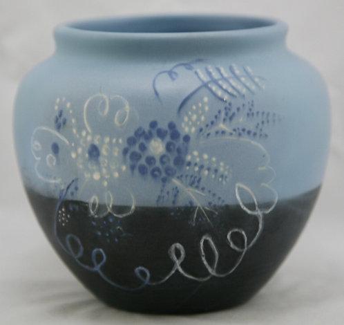 Weller Raceme Ball Vase By Hester Pillsbury In Blue/Black Mat Glazes