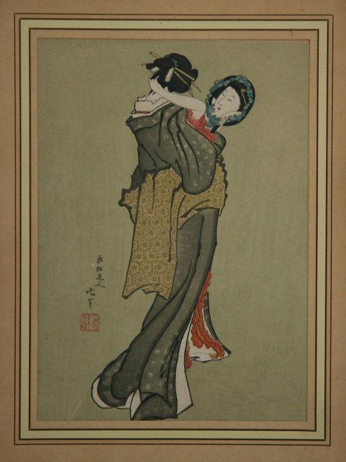 Katsushika Hokusai (1760-1849) 'Bijin with Mirror' or 'Hair-Dressing'