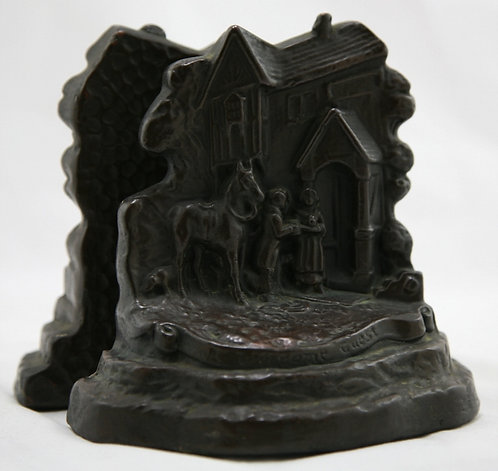 Armor Bronze 'Welcome Guest' Bookends 1920s
