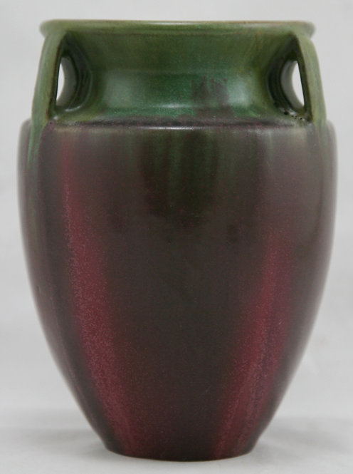 "Fulper 6.5"" Buttressed Handled Bullet Vase In Green Over Rose Glaze c1917-34"