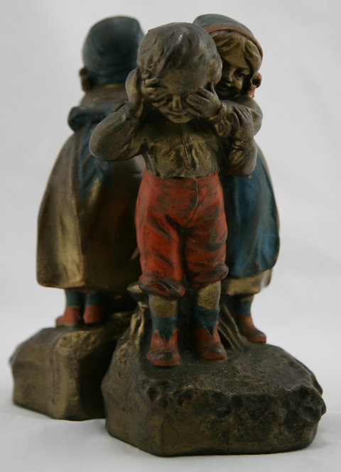 Galvano Bronze 'Who is it?' Polychrome Bookends c1925