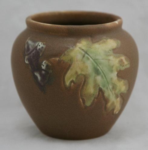 Rookwood Carved Mat Vase with Oak Leaf and Acorns d1906 by Albert Pons