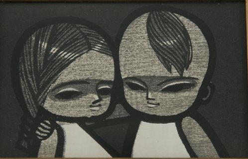 $OLD! Ikeda Shuzo (1922-2004)  'Boy and Girl, Monochrome'