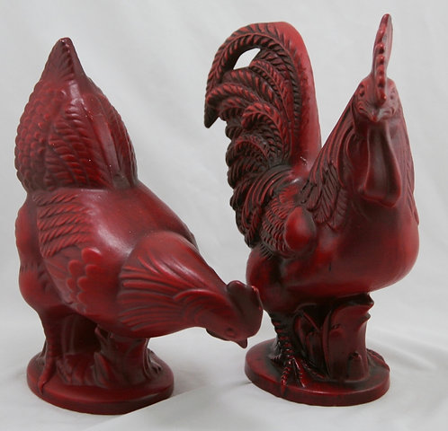 Royal Haeger Rooster and Hen Set by Sebastiano Maglio in Peasant Red Glaze c1960