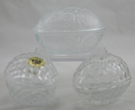 Glass Egg Trinket Boxes: Leaded Glass, Faceted Pressed Glass and Pressed Glass