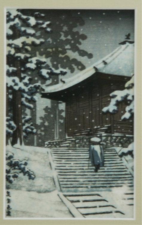 After Kawase Hasui (1883-1957) 'Hiraizumi Konjikido in Snow'