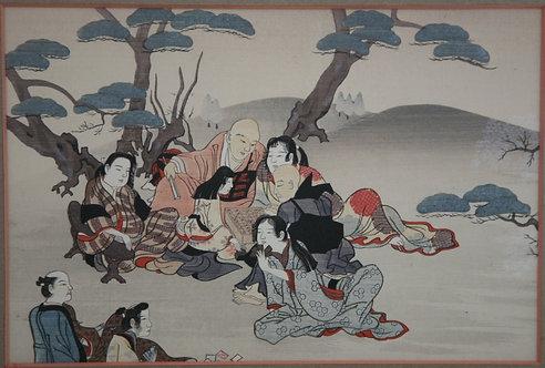 "Nihon Shosui-sha (1912-1926) Album ""Nihon Mokuhangasui"" Picnic and Games"