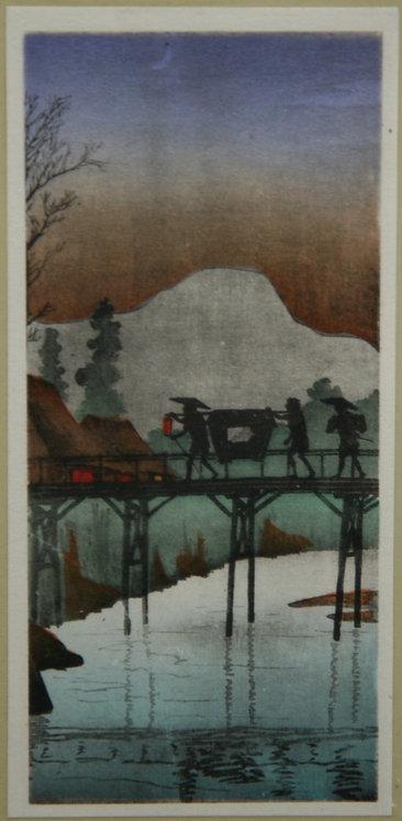 Takahashi Shôtei (1871-1945) 'Evening Glow at Sakawa Bridge'