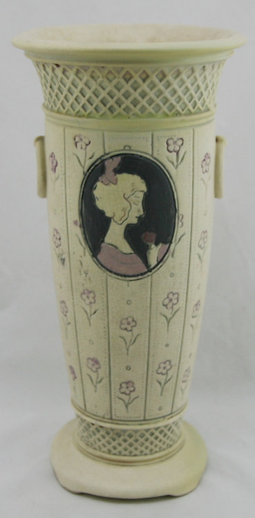 "Weller Ethel 12"" Vase W/Cameos Named For Sam Weller's Daughter Ethel"