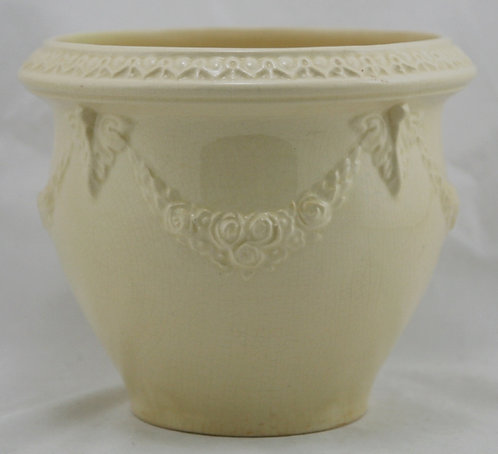 """Roseville Volpato 6"""" Jardiniere W/Garlands of Roses/Ornamental Rim In Ivory"""