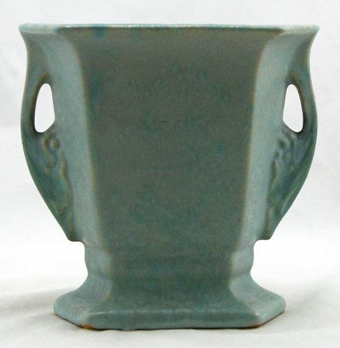 Roseville Tuscany Art Deco Pillow Vase Blue/Green Mottled Frost Leaf/Grape Motif