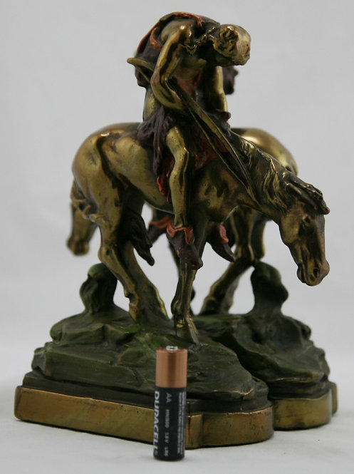Armor Bronze 'End of Trail' Polychrome Bookends 1920s