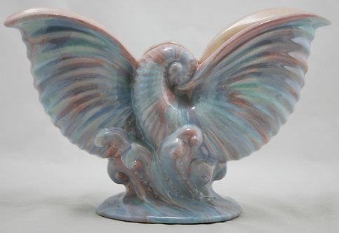 """Royal Haeger Early Mauve Agate 6"""" x 9.5"""" Nautilus Shell Vase Gorgeous Glazes"""