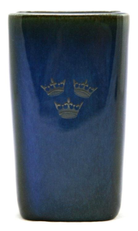 Gustavsberg Sweden Sven Jonson Lagun Blue Silver Inlay Vase with 3-Crown Accents