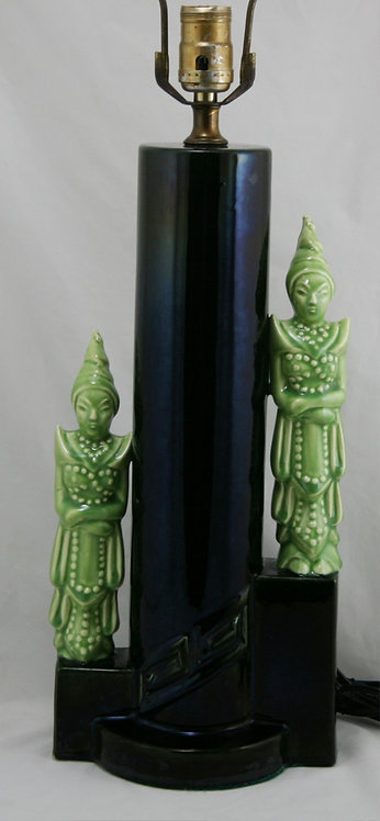 Gonder Pottery Lamp with Asian Figures in Black/Chartreuse c1950