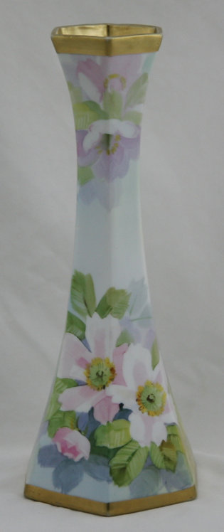 Nippon Hexagonal Vase with Wild Rose Blossoms and Rich Gilt Accents