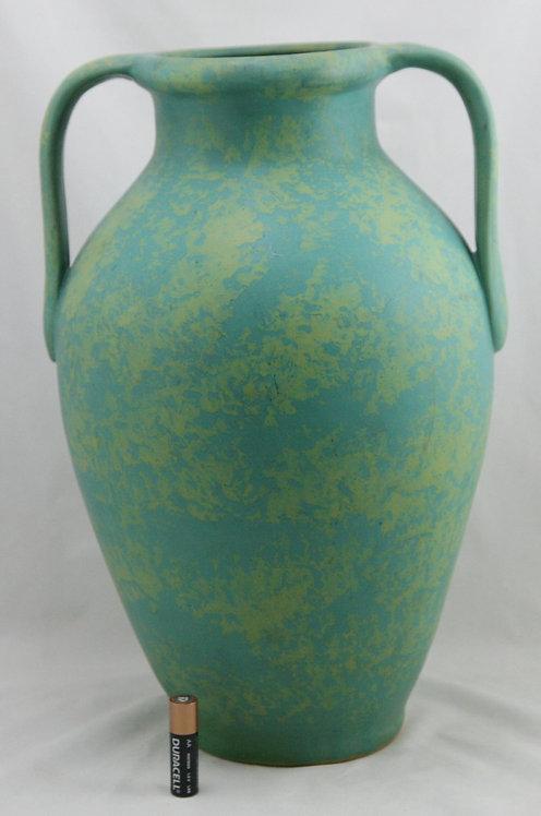 """$OLD! TY! Weller Pottery Mottled Ware Turquoise/Green 14"""" Handled Floor Vase"""