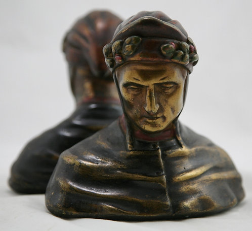 $OLD TY! Armor Bronze NYC 'Dante Alighieri' Polychrome Bookends c1920