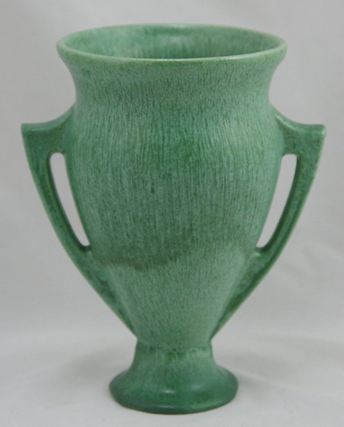 $OLD! American Art Clay Company (AMACO) Handled Vase Verde Green Stippled Glaze