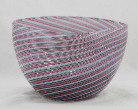 Mid-Century Modern Italian Murano Cenedese Filigrana Square Art Glass Bowl c1960