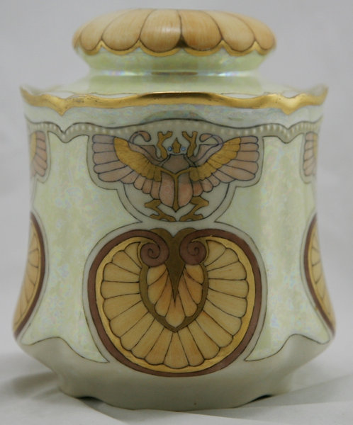 O & EG Royal Austria China-Painted Egyptian Revival Biscuit Jar Signed C.E.R.