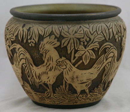 "Weller Burntwood 6.5"" Jardiniere Roosters & Hens Barnyard Motif In Brown/Beige"