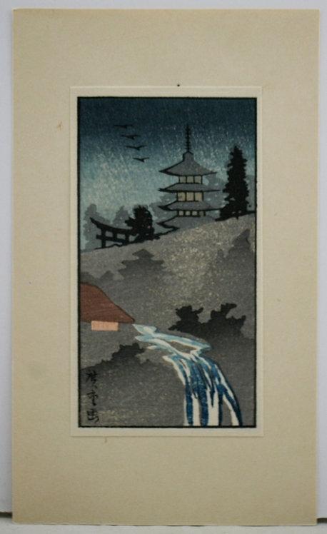 Utagawa Hiroshige (1797-1858) 'Asakusa Temple at Night'