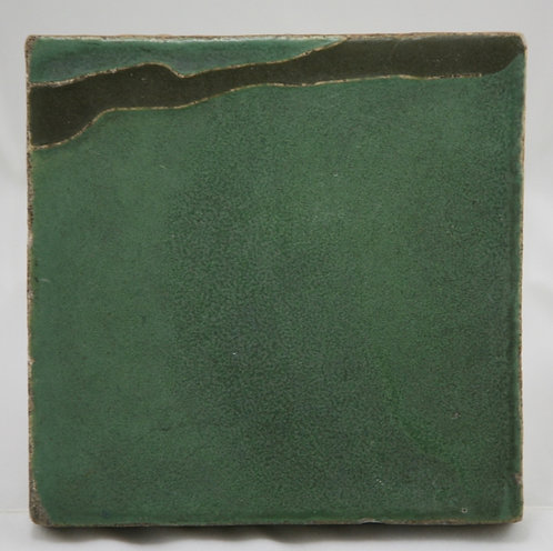 "Van Briggle Pottery 6"" Landscape Tile in Matte Green/Brown Glazes c1906"