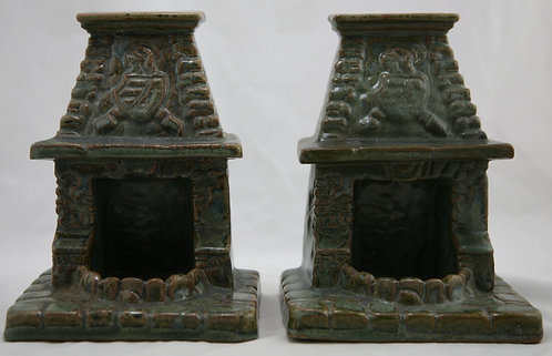 Fulper 'Fireplace with Ashtray' Bookends c1909-17 In Green/Charcoal Glazes F33