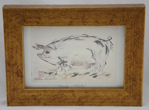 $OLD! Bettie Sarantos Brush Painting Print 'Oink-Oink' Artist Sealed/Signed