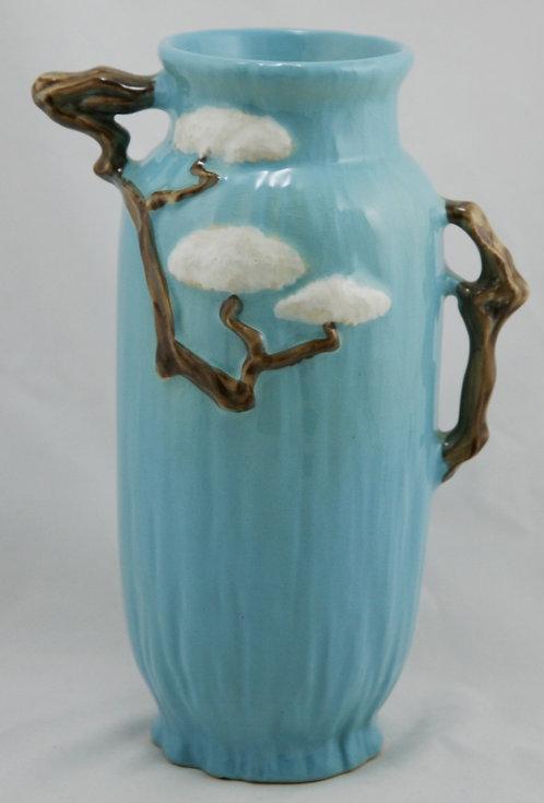"""Roseville Ming Tree 11"""" Vase W/Fabulous Handles In Blue 583-10"""