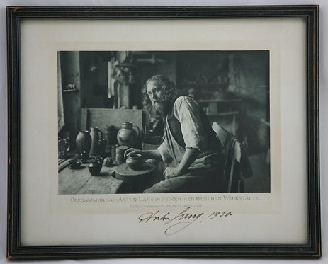 Anton Lang Framed/Signed Souvenir Photo in Pottery Studio d1930 Oberammergau
