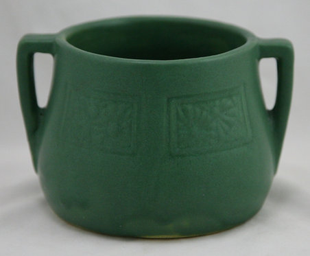 Owens Arts & Crafts Vase w/Daisy Panel Motif in Organic Matte Green Glaze