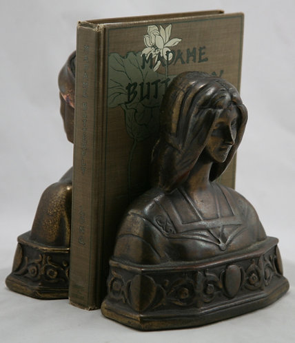 $OLD TY! Marion Bronze 'Dante & Beatrice' Bookends c1930s